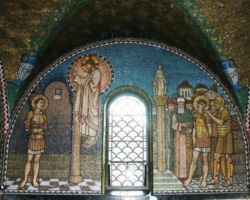 Wall opposite altar